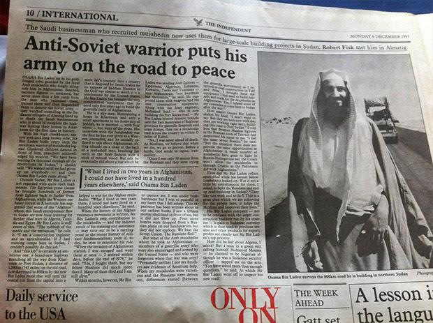 Osama bin Laden, relatou favoravelmente no The Independent do Reino Unido em 1993 (Crédito: Imgur)