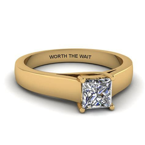 Princess Cut Personalized Solitaire Wide Engagement Ring