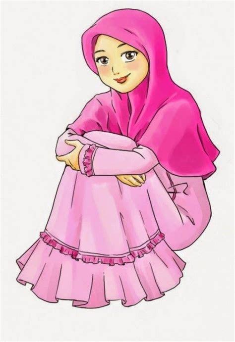 inilah gambar kartun islam perempuan  keren abis