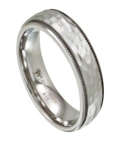 Mens Stainless Steel Wedding Band   Hammered Finish