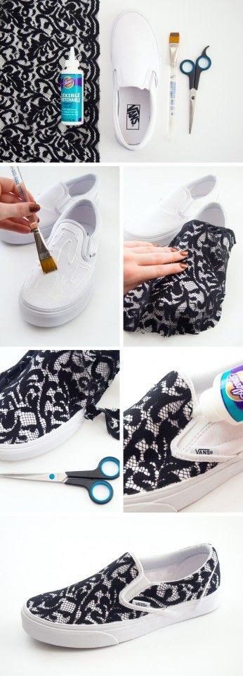 diy lacy sneaker refashion using flexible retachable fabric glue and lace