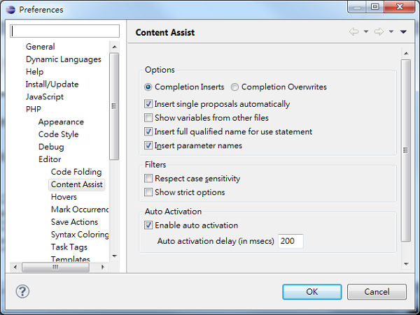 Eclipse Code Completion Content Assist Dialog