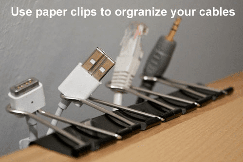 use paper clips to organize your cables