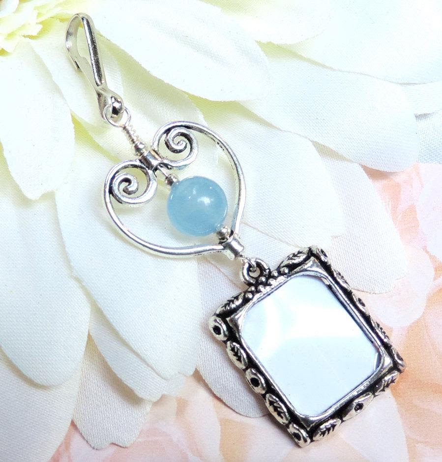 Wedding Bouquet Photo Charm Something Blue Handmade Gift For The