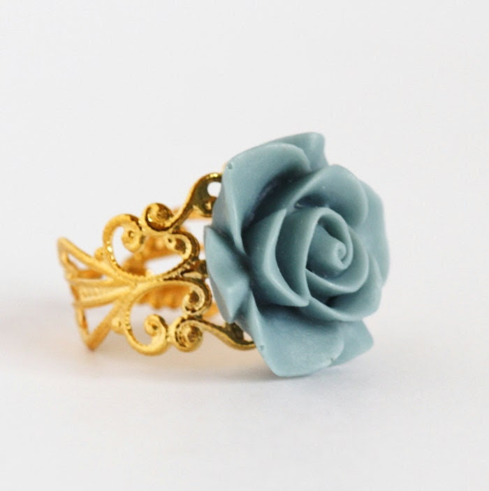 Blue Flower Ring - Gold Plated Adjustable Filigree Ring With Blue Flower