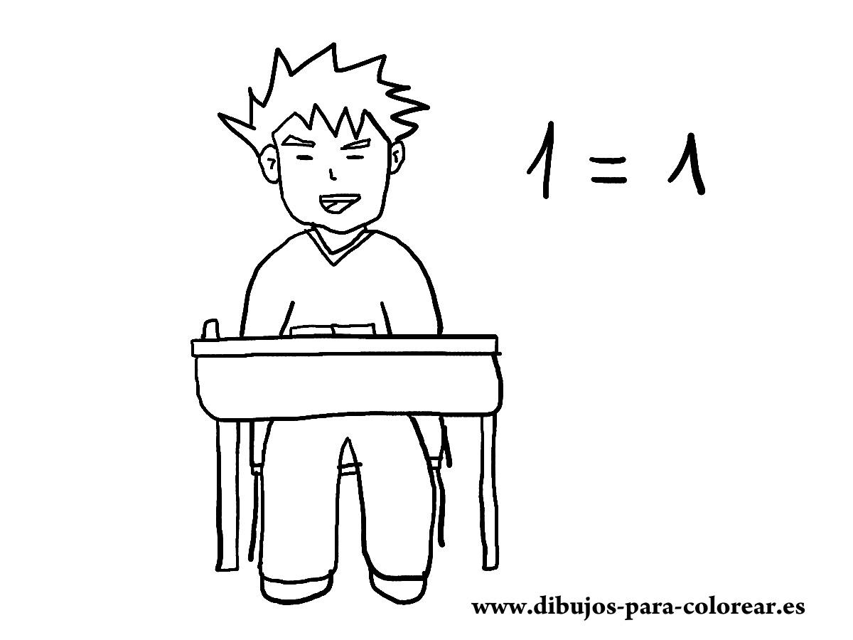 Niño En Clase De Matematicas Dibujos Para Colorear