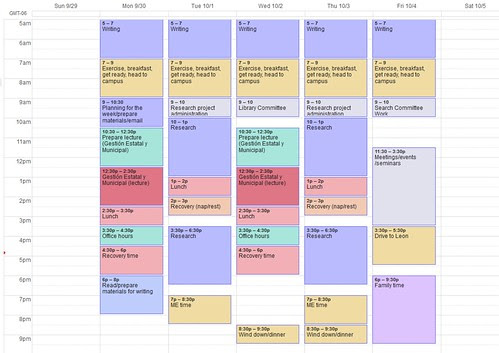 Scheduling my academic life to the very minute: My weekly template ...