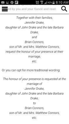 Wedding Invitation Wording Deceased Father   Wording for