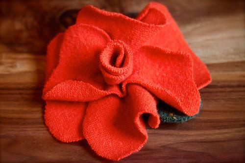 Orange Felted Sweater Flower