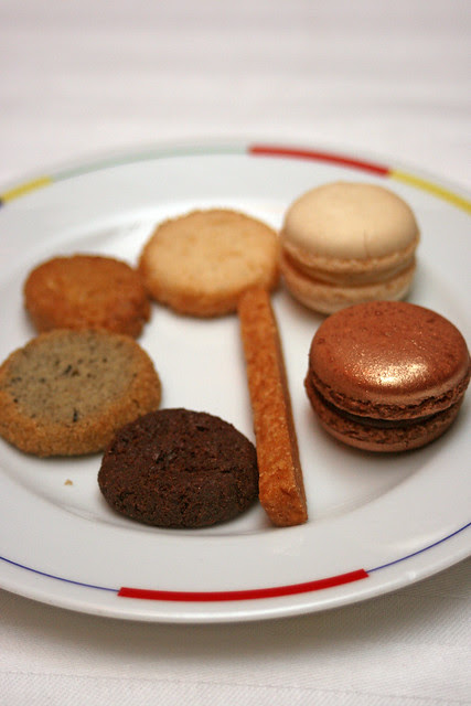 My friend's selection of cookies and macarons