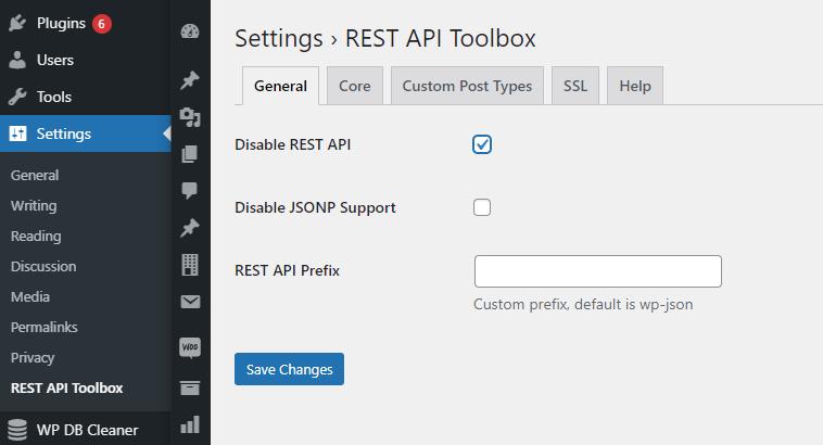 REST API Toolbox settings