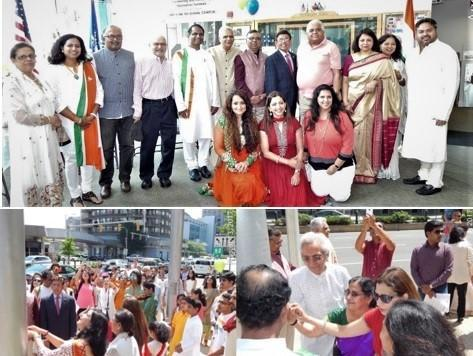 India Independence Day Ceremony and Flag Hoisting.2017.in Stamford, CT, USA