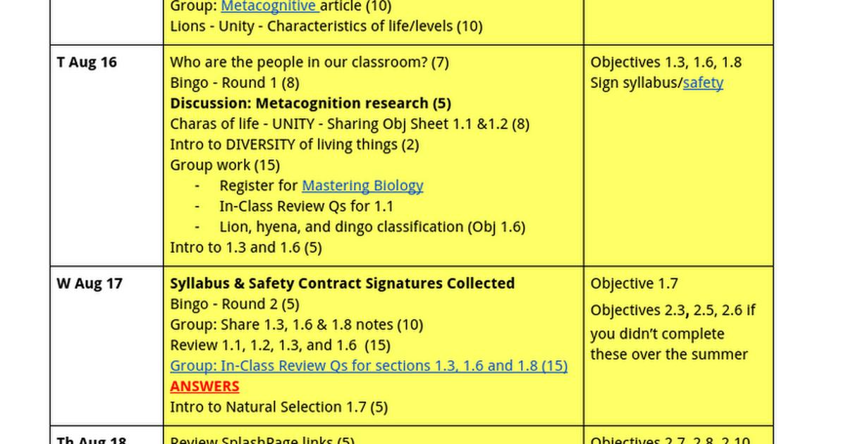 Ap Biology Calendar 16 17 Jg Google Docs