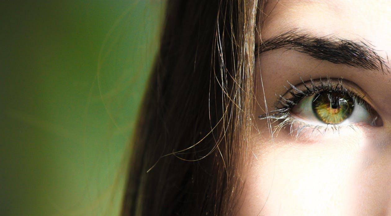 Selective Focus Half-face Closeup Photography of Female's Green Eyes