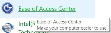 Click on the Ease of Access center and open it