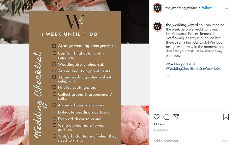 Wedding Day Checklist insta