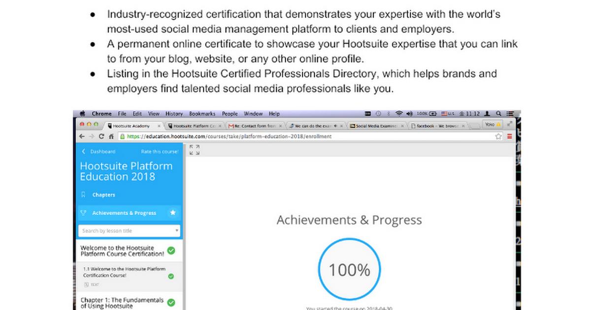 Hootsuite Platform Exam Certification Answers 2018 - Google Docs