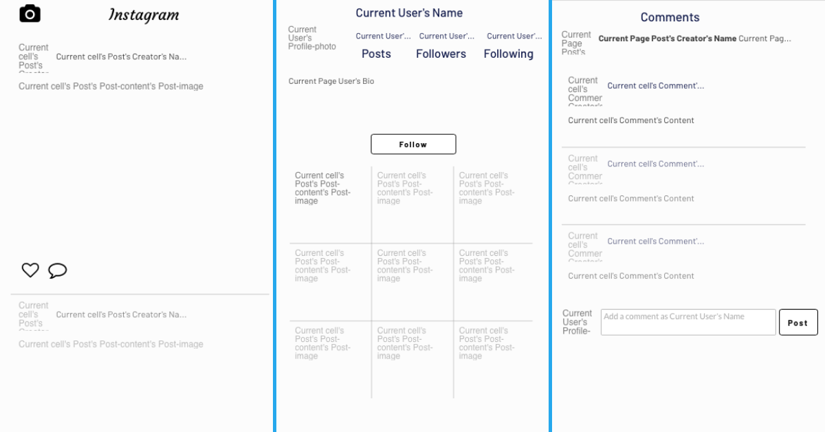 No-code Instagram clone user interface design