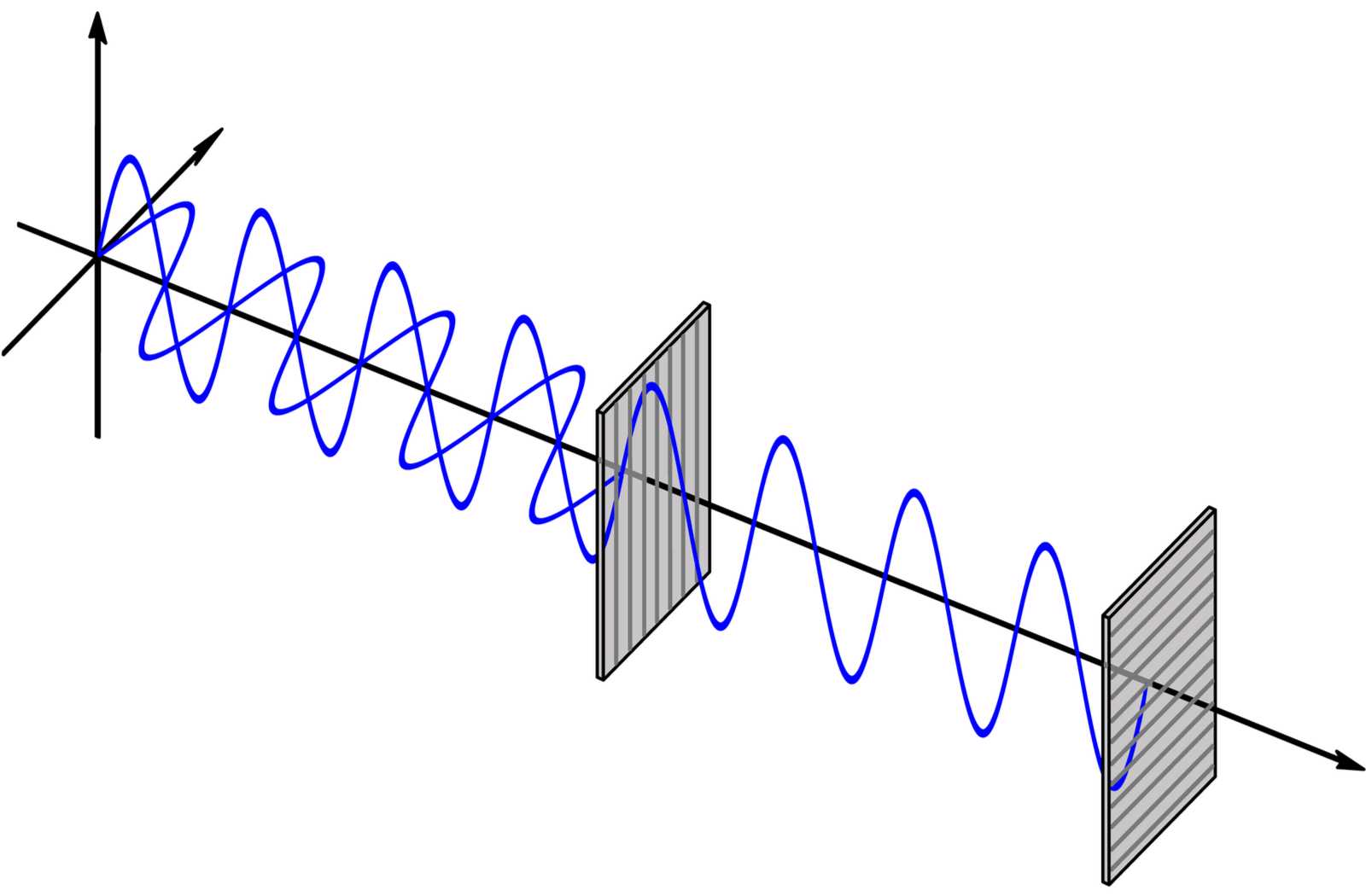 drawing of polarization filters blocking opposite vertical and horizontal waves