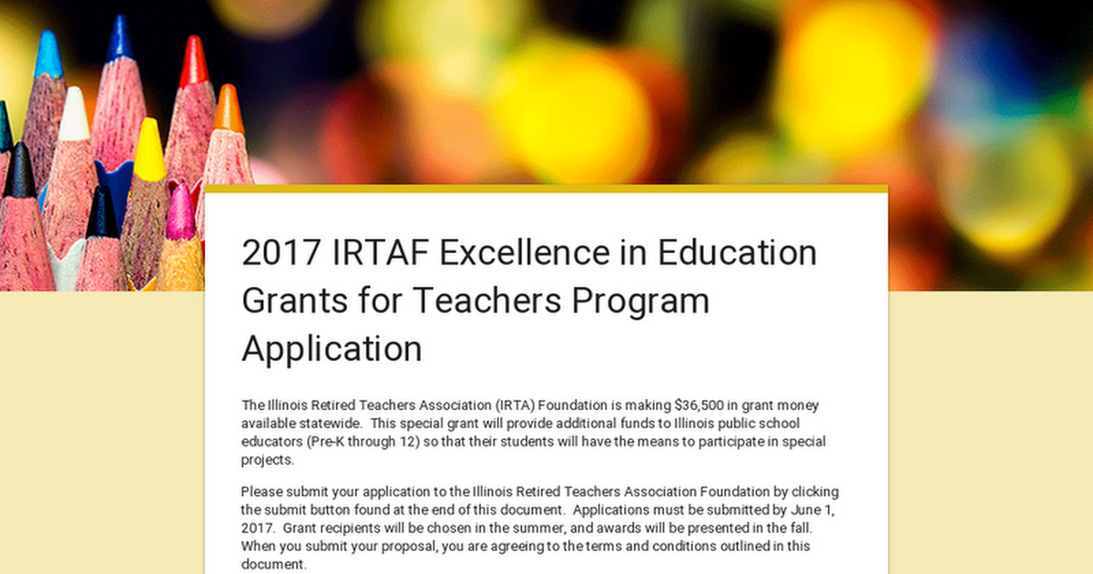 2017 IRTAF Excellence in Education Grants for Teachers ...