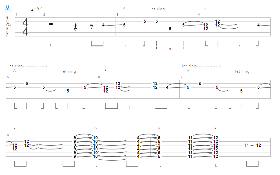 Open E Tuning - Rolling Stones – No Expectations Tab