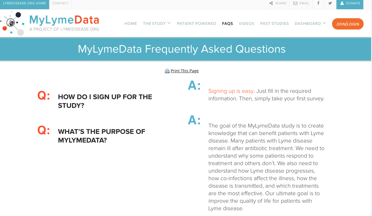 Screenshot of MyLymeData frequently asked questions webpage. The page features two questions: how do I sign up for the study? and what's the purpose of MyLymeData? along with answers to both.