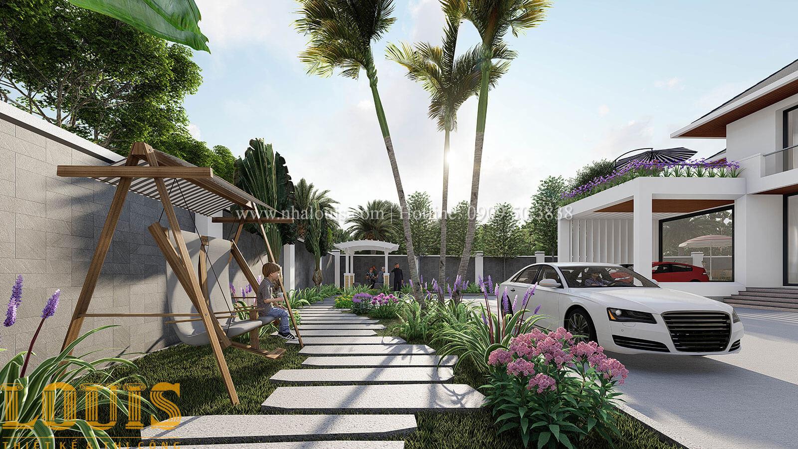 Mặt tiền & sân vườn Mẫu biệt thự 2 tầng mái thái với sân vườn đẳng cấp tại Phú Quốc - 29