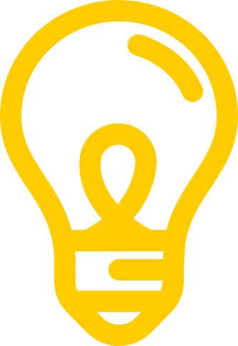 Outline of light bulb in yellow