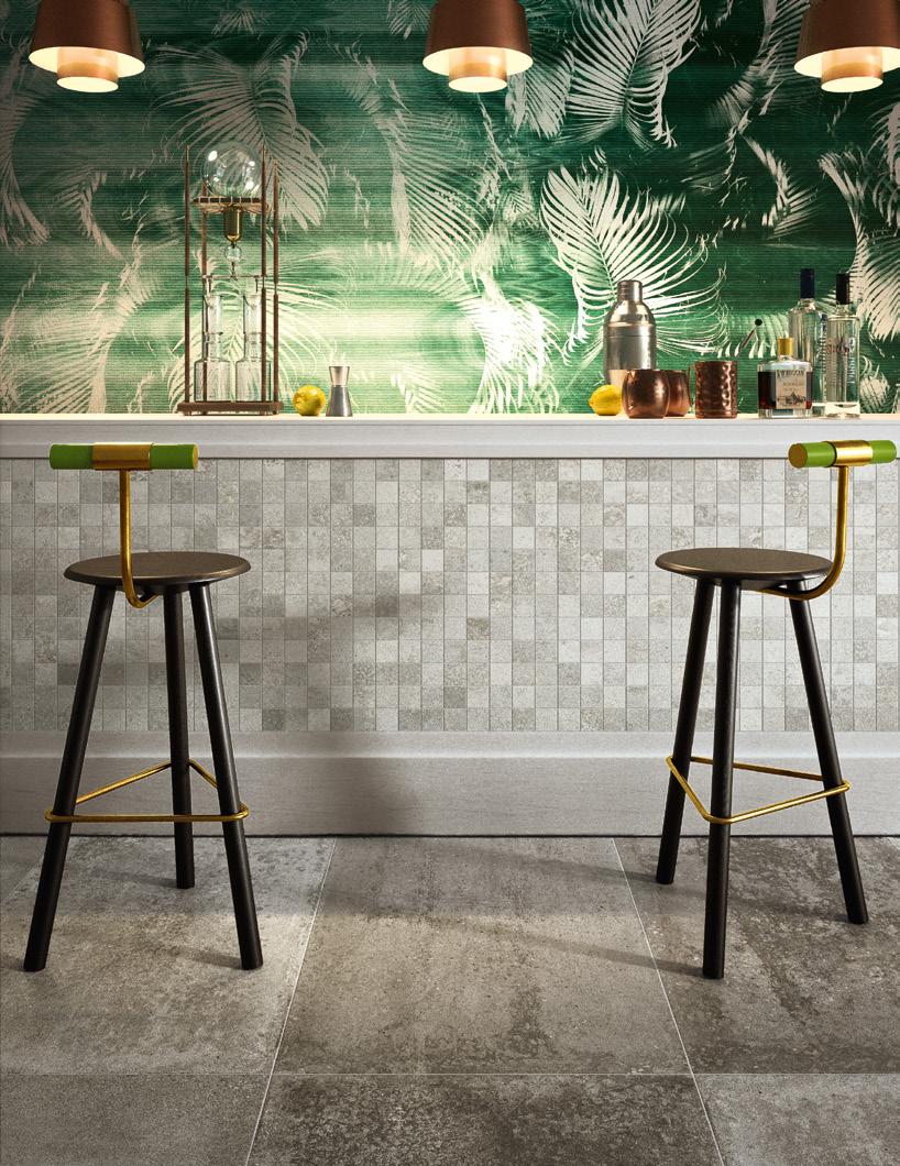 Concrete-look mosaic tile grid on a bar front