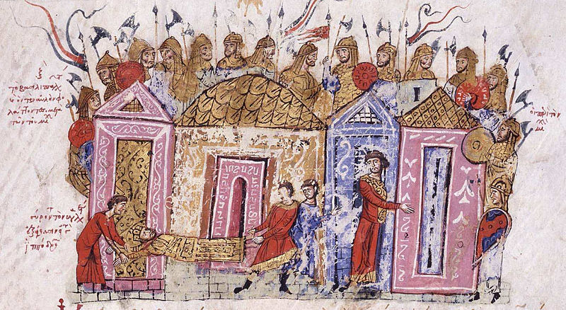 Illustration of armored Varangians behind walls, with Byzantine citizens below.