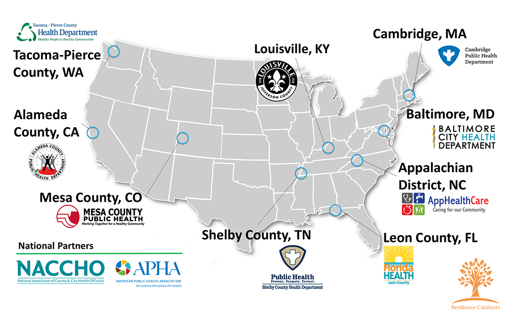 Map indicating 10 Resilience Catalysts sites across the United States and CCR's two national partners: NACCHO and APHA.