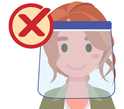 graphic of a woman with a face shield