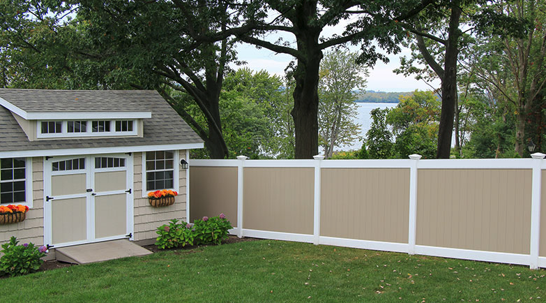 Tan and white vinyl fence colors combo