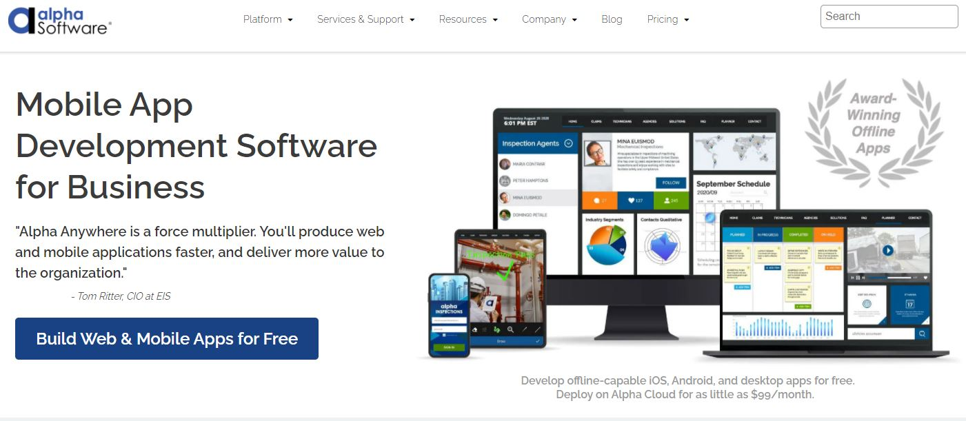 Alpha Anywhere Mobile Software Development Software