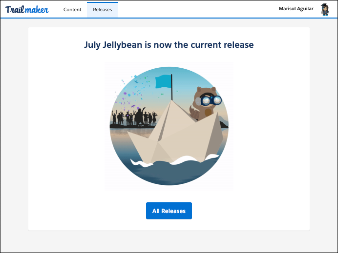 Screen in Trailmaker Release confirming that the published release is now the current release on myTrailhead