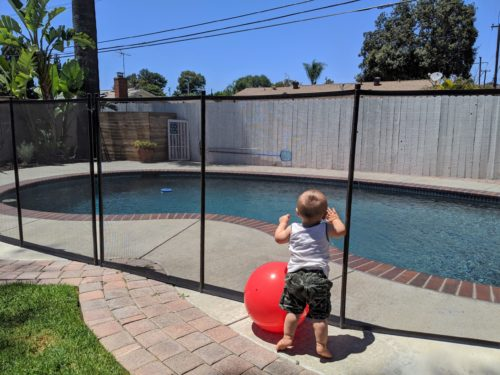 toddler leaning against a safety pool fence with a red ball beside him
