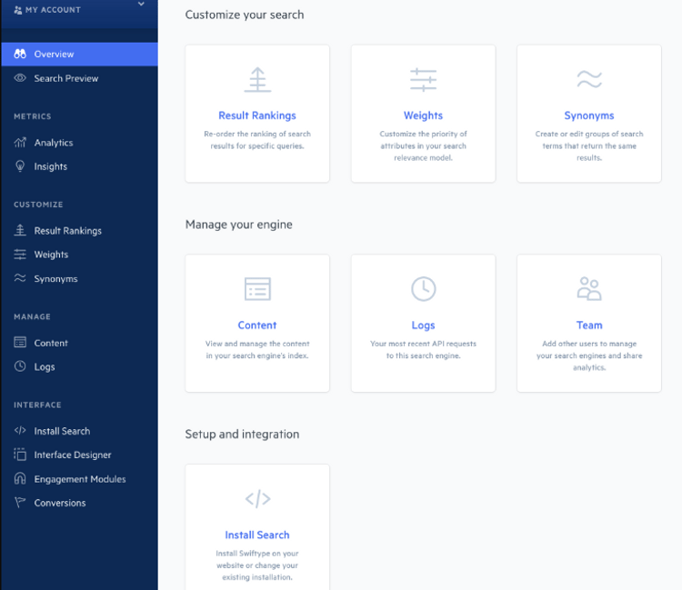 Swiftype Site Search interface