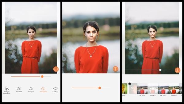 Tutorial de edição de uma foto de uma mulher usando um vestido em frente a um lago usando as ferramentas do AirBrush