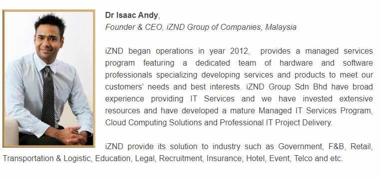 Dr Isaac Andy, CEO of iZND Group | Recipient of the European Quality Award