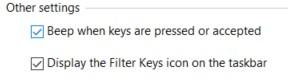 Filter Keys in Windows - Other Filter Key Settings