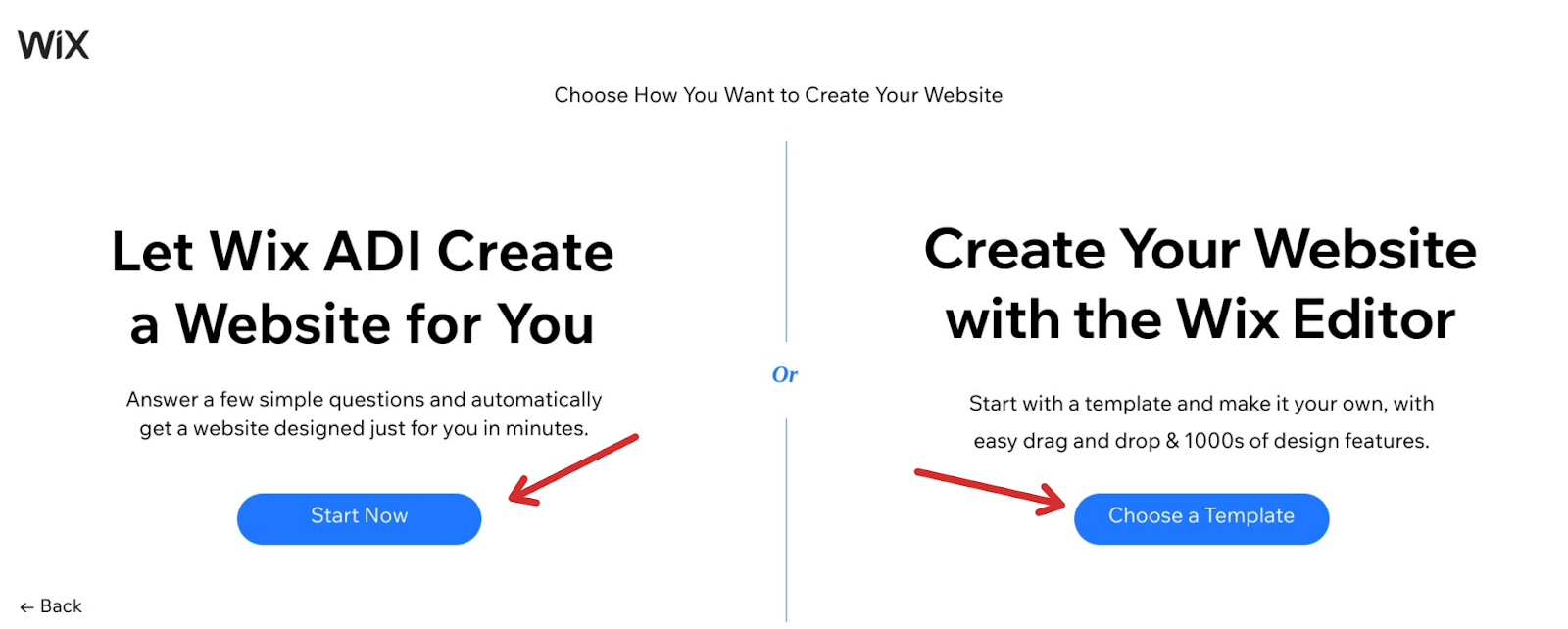 Wix create a website editor or ADI