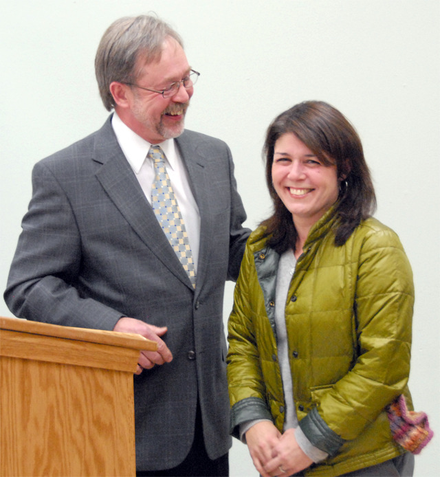 Citizen of the Year Nela Cumming, Director of Pediatric Therapy at Encompass, was recognized at the Jan. 15 North Bend City Council meeting, where Mayor Ken Hearing presented her with the award.  - Carol Ladwig/Staff Photo