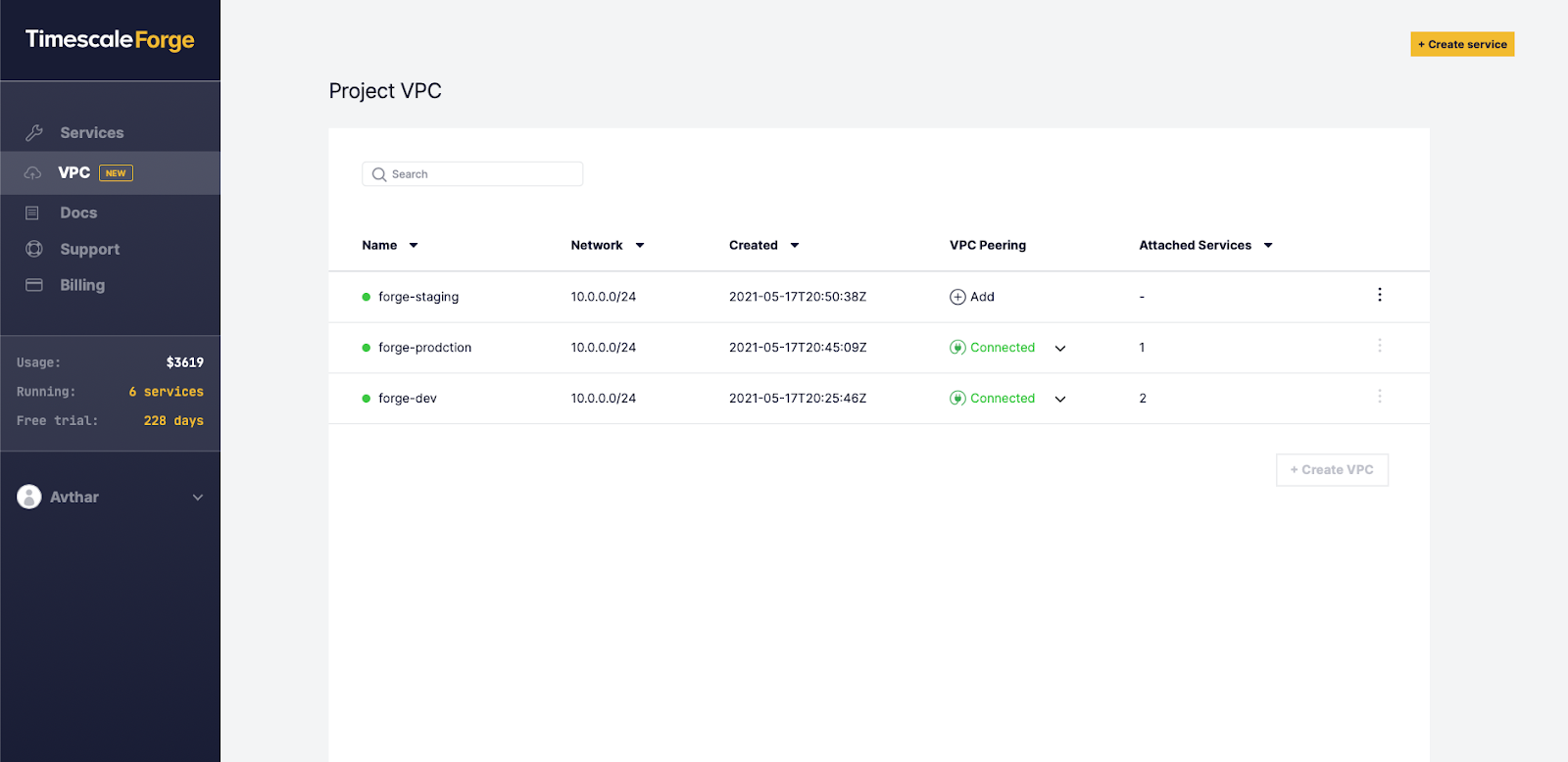 VPC tab in Timescale Forge showing list of VPC projects.