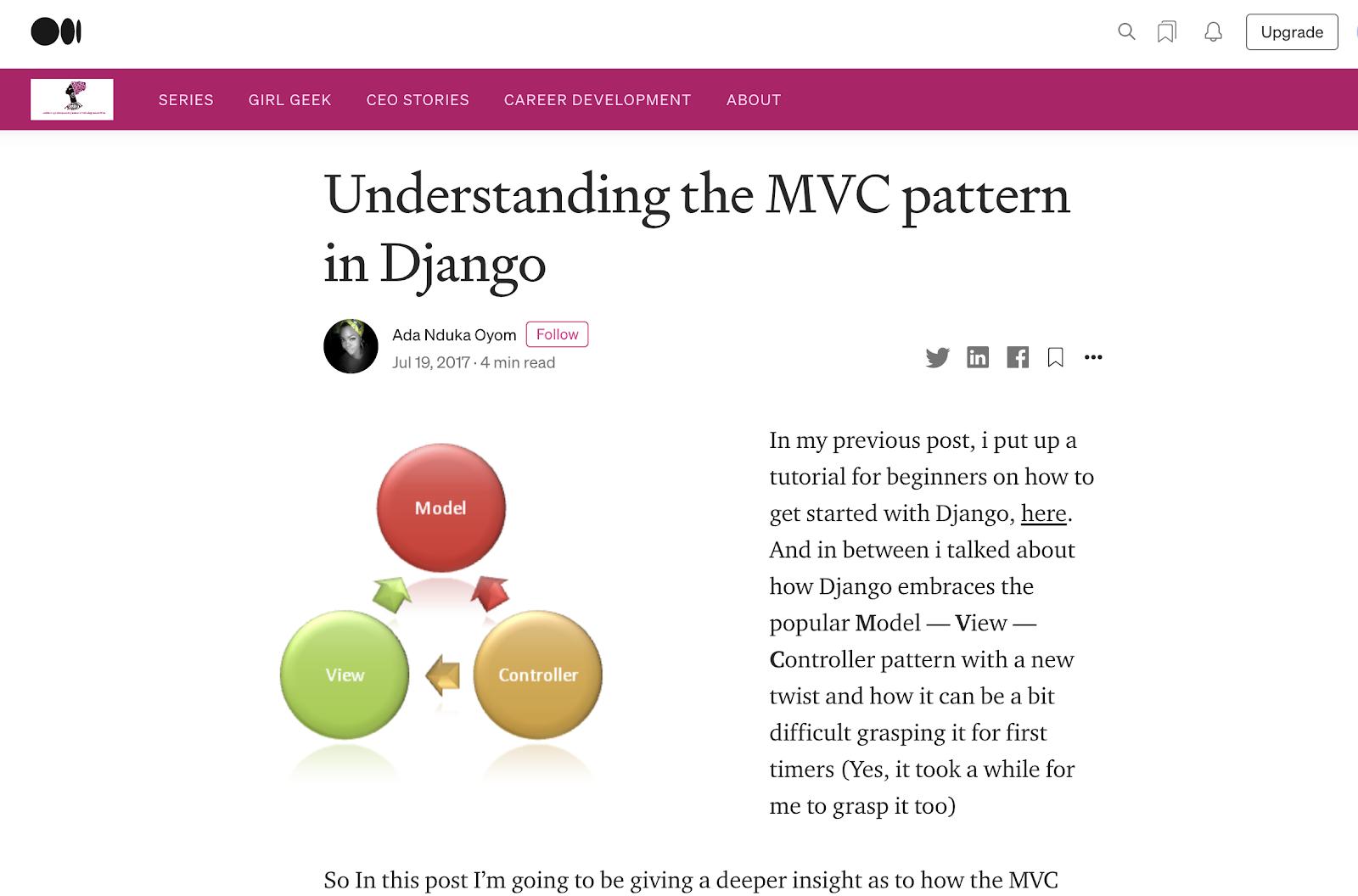 Understanding the MVC Pattern in Django screenshot of home page