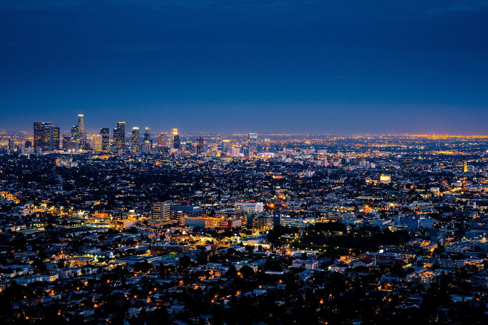 los angeles city skyline view at night time. See the city of angeles during a California road trip