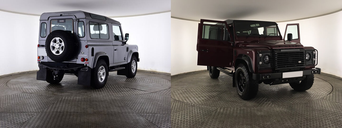 defender 90 and defender 110 in silver and red