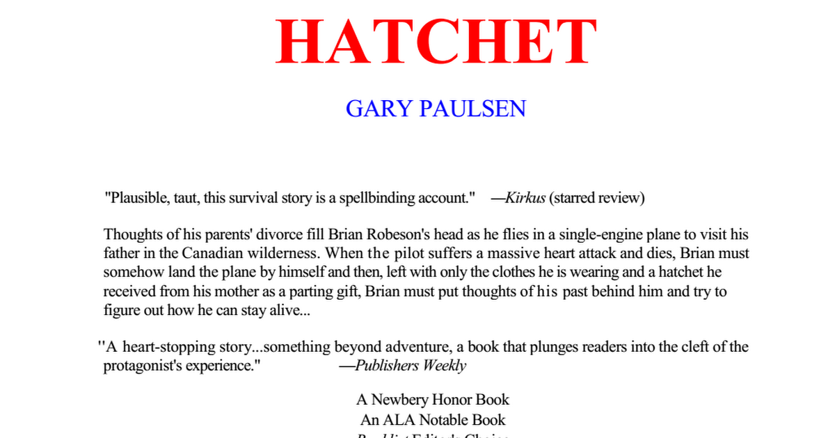 Hatchet by gary paulsen 1pdf google drive fandeluxe Image collections
