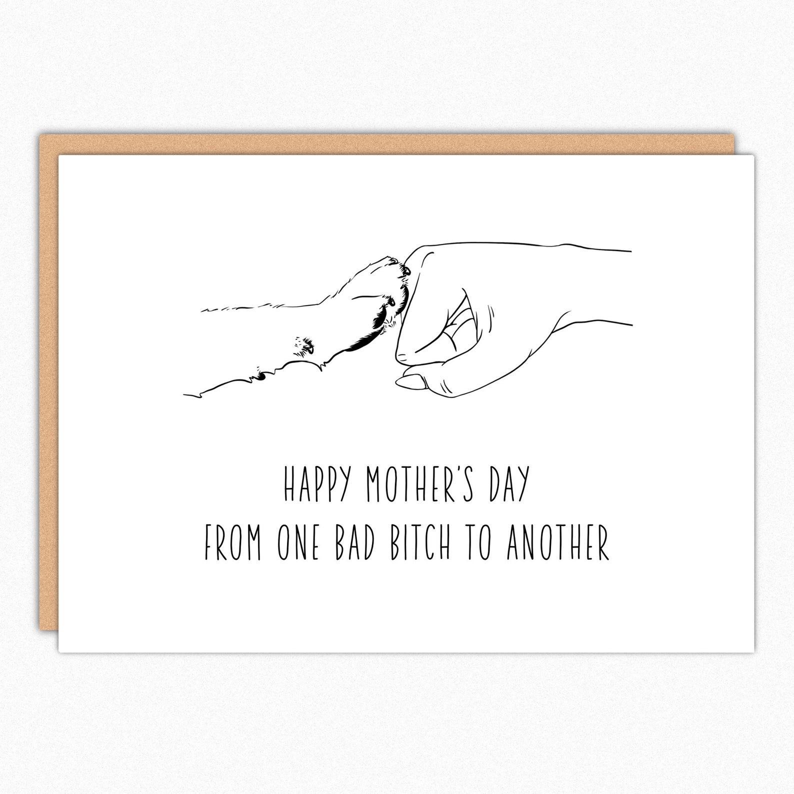 """dog mom Mother's Day card that says """"Happy Mother's Day from one bad bitch to another"""""""