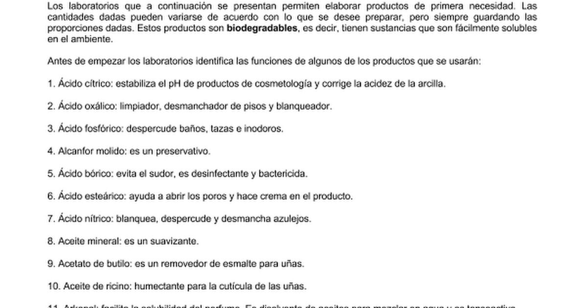 TRABAJOS EXPERIMENTALES,PRODUCTOS CASEROS.doc - Google Docs