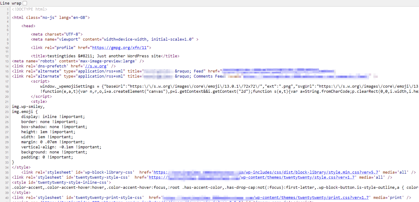 A sample of what a WordPress site's source code can look like. There are many lines of code in different colors, as well as links.